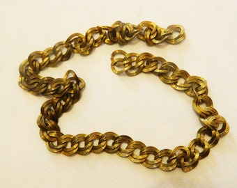 Vintage  Brass Art Deco Twisted Cable Link Chain