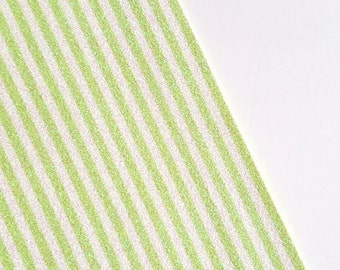 SALE 8x11 Chartreuse and White Glitter Candy Stripes Fine Glitter Fabric Sheet