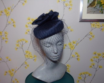 Vintage Navy Pleated Pillbox Hat with Veil and Multiple Layered Bows Bridal Occasion Hat
