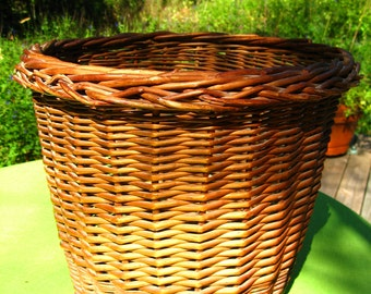 vintage wicker basket trash planter container storage  large