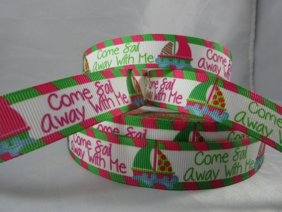 Sail boat ribbon nautical ribbon grosgrain ribbon wholesale for Craft supplies online cheap