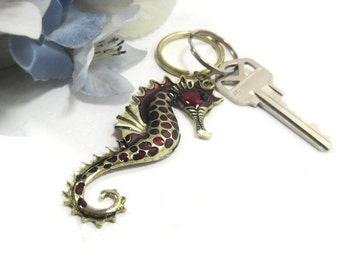 Red Jeweled Sea Horse Keyring, Key Ring, Keychain, Key Chain, Repurposed Jewelry