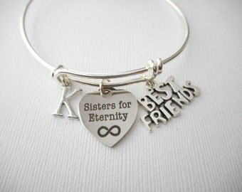 Sisters for Eternity, Best Friends- Initial Bangle/ gift idea, miles apart, Wedding gift, bff, sisters, birthday gift, sis, Goodbye gift