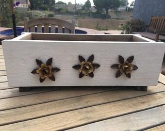 SHABBY REDWOOD PLANTER Box- Metal Rose - Redwood Planter - Rustic Style Planter- Wood Planter Box- Wooden Flower Pot - Flower Box