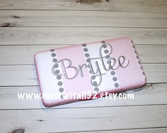Custom Gray / Pink Stripes and Dots Diaper Wipes Case