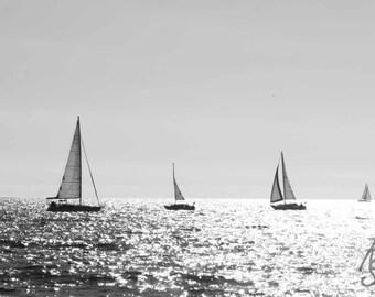 SALE Black and White Beach Sailboat Photo, Califorinia Beach, Redondo Beach CA, Boat Photography, 8x10 Photo Art, Frame Option