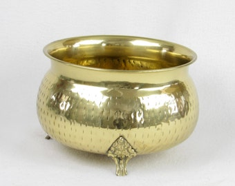 Brass Planter - Ornate Brass Footed Pot - Vintage Garden - Patio - Kitchen - French Cottage Chic Zen Decor