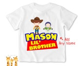 Little brother shirt toystory woody buzz Tshirt - Personalized Little brother Shirt or Bodysuit - 031_BB_2C_toystory woody buzz