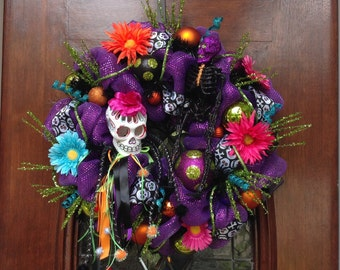 Day of the Dead Girl Skull Wreath