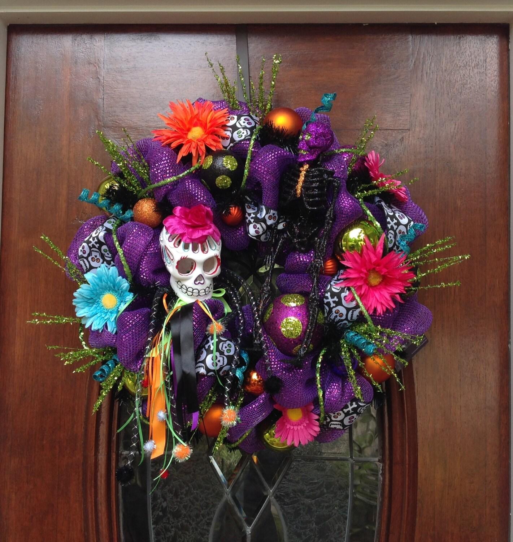 Day of the Dead Girl Skull Wreath - My Sugar Skulls