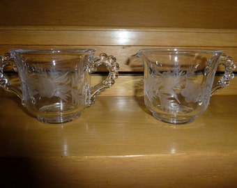 Vintage Imperial Candlewick Sugar and Creamer Etched Glass Set