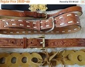 SPRINGSALE Vintage Belts - Tooled leather, metallic cinch, ethnic belt S M L