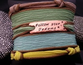 Follow your dreams  hand stamped hand dyed silk wrap bracelet with magnetic clasp by D2E Gallery