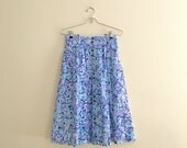 Vintage Floral Print Button Down Skirt / Twill Skirt / 90s