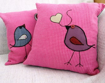 Two for One - Pink Heavy Linen Applique Pillows
