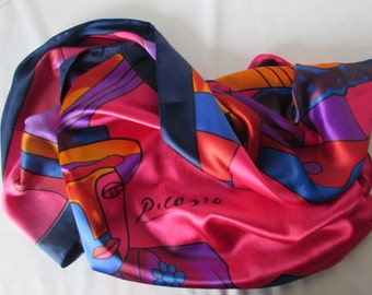Large Scarf Silk Scarf Picasso  Hot Pink Royal Blues Contemporary high fashion wearable art