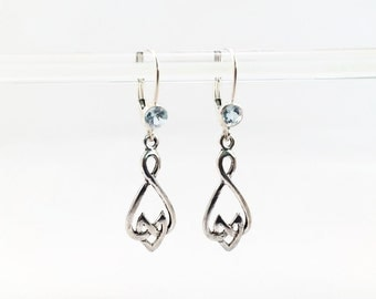 Silver Celtic Knot Earrings with Topaz Blue Crystal