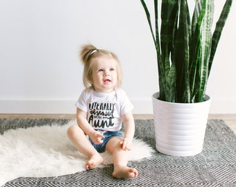Unique Infant Bodysuit • Handlettered Literally Obsessed With My Aunt Cotton Baby Onesie • Niece or Nephew Gift from Aunt - FREE SHIPPING