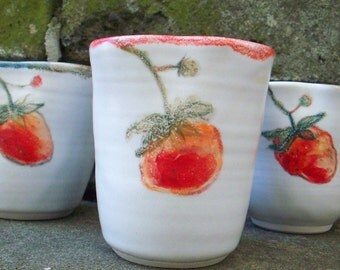 Porcelain  handpaint the image of strawberry ceramic cup: Cold or Hot drink. handmade.