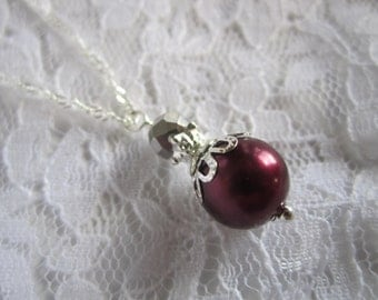Marsala Wedding Burgundy Bridesmaid Necklace Bridal Gift Bridal Party Fall Wedding