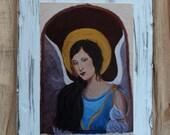 Original 7 x 9 Italian Earth Angel- Distressed & Painted Wood-Print Inspirational-Child's Decor-Nursery Room-Angel-Guardian Angel-Home Decor