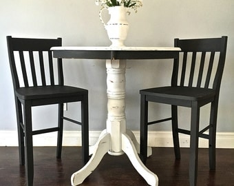 Shabby Chic Black & White Pub Table Set
