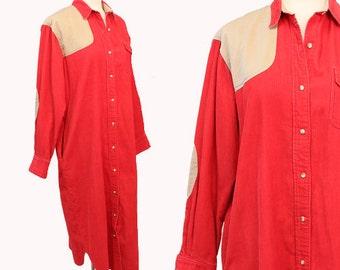 SALE! Rare vtg 80s dress Ralph Lauren RED corduroy Elbow patch country Shirt dress sz. 10
