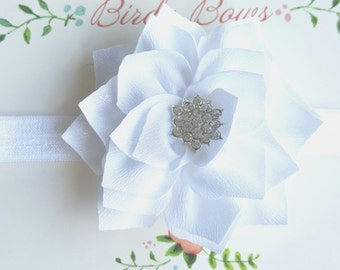 White Flower Baby Headband, Baby Headbands, Newborn Headbands, Baby Girl Headbands, Infant Headbands, Baby Bows