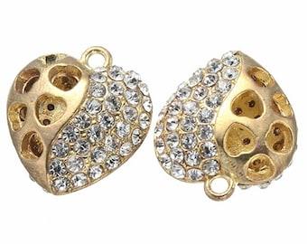 2pc 21mm gold finish metal hollow heart pendant with rhinestones-9379J