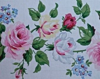 Laura Ashley Heavy Cotton Chintz Fabric  2/3 yd x 54 in wide