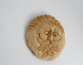 Wood Spirit Wall Hanging Carved Wood Spirit Art Wood Sculpture Unique Gift Idea Perfect Gift for Him Special Gift for Dad Tree Spirit