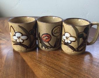 Vintage Set of 3 Ceramic Flower Mugs • Japanese Stoneware Mug Set
