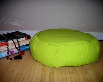 "Zafu Meditation Cushion. Floor Pillow. UNFILLED COVER only. Neon Green Poly Fabric. 6"" L. Sidewall Velcro Closure. 15x5. Handmade, USA"