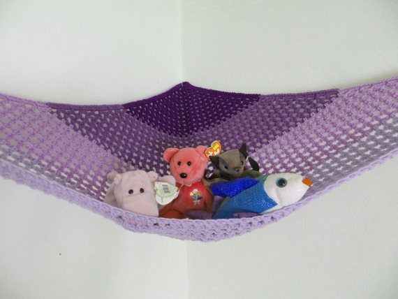 stuffed animal storage crochet toy net hammock in purple ombre. Black Bedroom Furniture Sets. Home Design Ideas