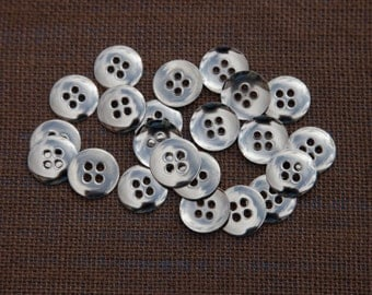 """10 Vintage 7/8"""" Metal Buttons. Shiny Silver with 4 Holes. Plain Design. Mildly Rounded Front, Concave Back. High Quality. Item 3690M"""