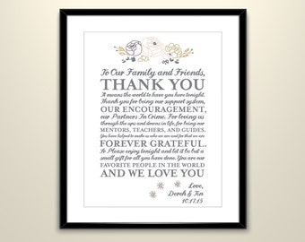 Whimsical Rustic Thank You Wedding Poster // Wedding Poster personalized for guests  (frame not included)