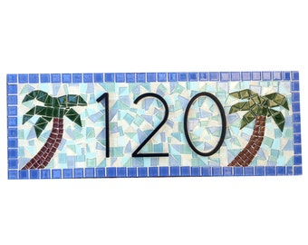 Beach House Address Sign in Blue and Aqua with Palm Trees, Mosaic House Number Sign