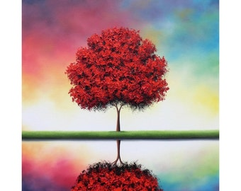 Print of Red Autumn Tree Painting, Photo Print of Red Tree Reflection, Colorful Contemporary Tree Art Poster, Fall Tree Picture, Wall Art