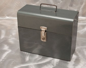 FILE  BOX - 1950's Mid Century Metal Chest with Key - gray hammered finish - Industrial