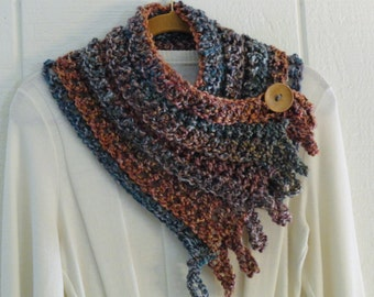 Crochet Button Fringe Scarf Desert Colors Terracotta Blue Wood Button Neckwarmer Scarflette Cowl