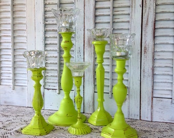Lime Candlesticks w/Glass Flower-Shaped Tea Light Holders - Eclectic Set of 5 Table Top - Red Yellow Lime Blue Metal Candleholders