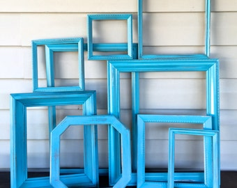 Bold Aqua Blue Frame Gallery - Set of 9 Wooden Empty Frames - Blue Open Frame Wall Decor - Beach Cottage Chic Art Deco