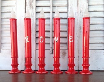 LOVE Red Candeliers - Flameless Candlesticks with Letters - Battery Operated Table Top Battery Operated Lights