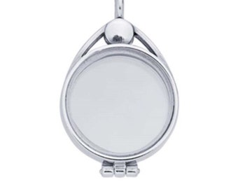 Locket in sterling silver with floating glass 1""