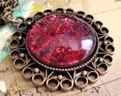 Burgundy Jewelry, Glitter Pendant, Brass Necklace, Fantasy Necklace