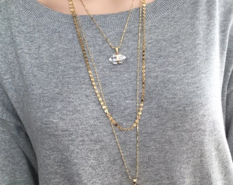 Triple Layered Gold Necklace with Two Genuime Crystal Quartz Point Pendants