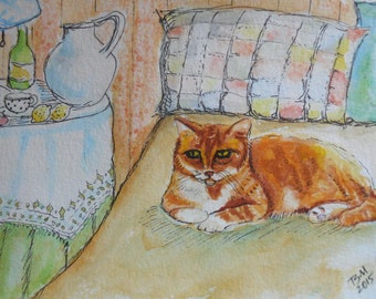 """ORIGINAL watercolor and ink painting, not a print. """"King of the Bed"""" FREE SHIPPING"""