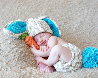 Instant Download PATTERN Newborn Bunny Outfit & Carrot Crochet Photo Prop Easter