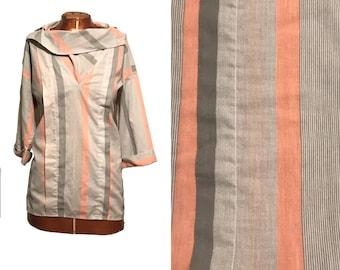 Vintage 1980s Blouse //80s Cowl Neck Striped Blouse // Size Medium