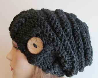 SALE Slouchy Beanie Slouch Hats Oversized Baggy Beehive Beret Buttons womens fall winter accessory Dark Heather Grey Black Chunky Hand Made